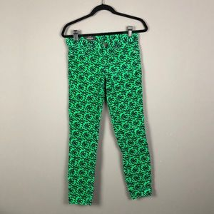 J.Crew l Toothpick Green & Navy Bow Print Chords